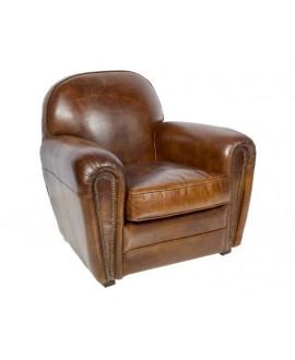 Fauteuil club SHEFFIELD marron vintage