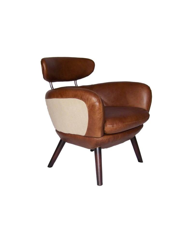 Oslo un fauteuil scandinave cuir marron