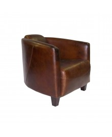 Fauteuil club cigare GLASGOW marron vintage