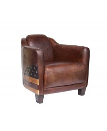 Fauteuil club cigare LINCOLN marron USA