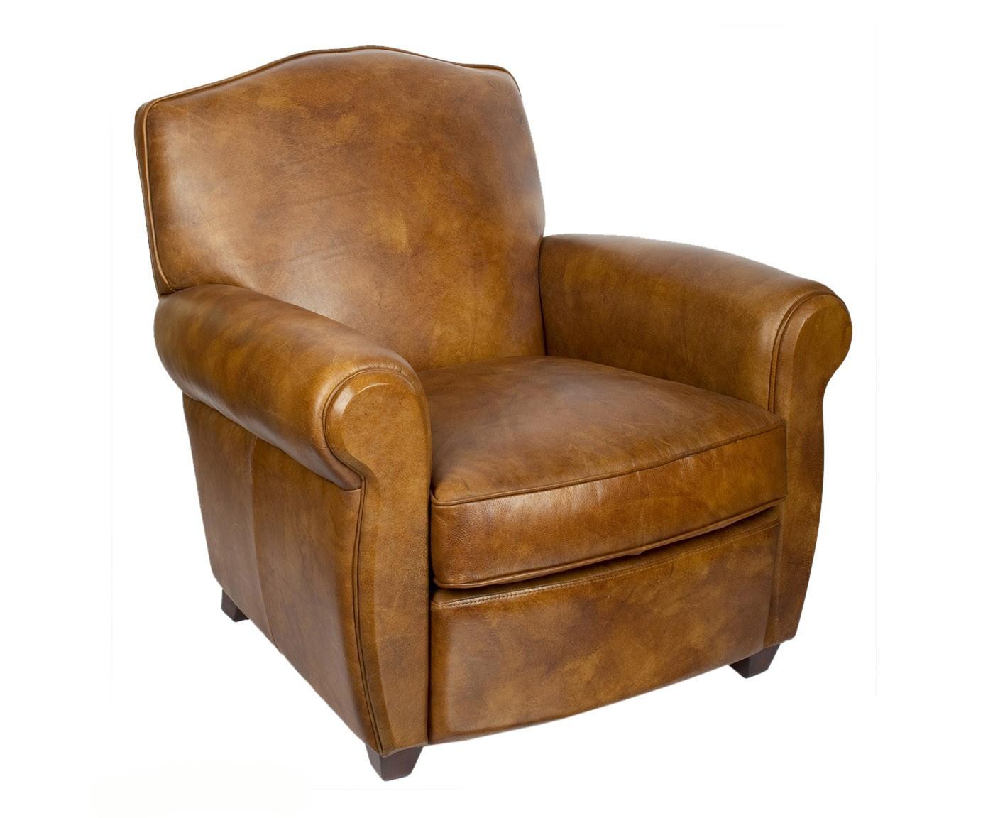 Moustache un fauteuil club cuir marron
