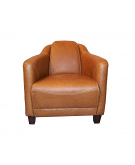 Fauteuil club cigare LINCOLN marron cognac