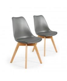 Lot de 2 chaises scandinave ICEBERG gris