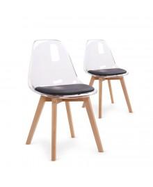 Lot de 2 chaises scandinave FJORD noir