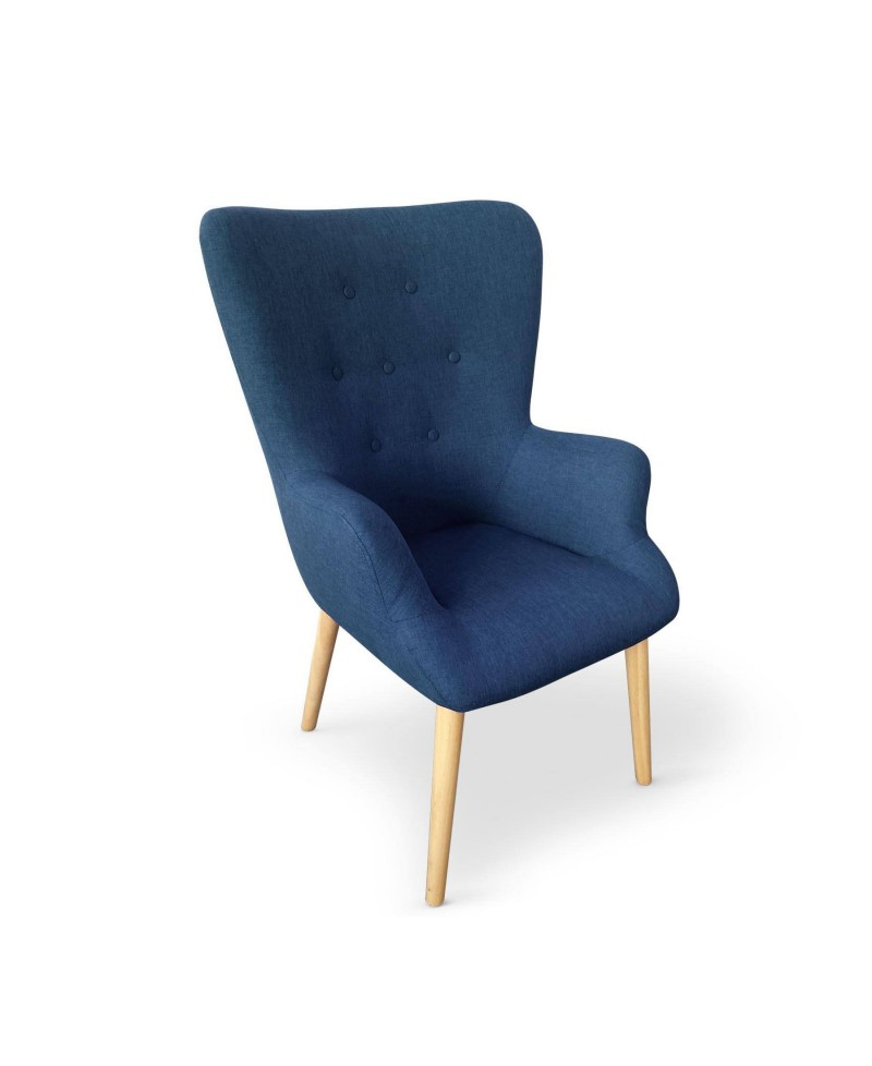 no fauteuil scandinave tissu bleu cobalt. Black Bedroom Furniture Sets. Home Design Ideas
