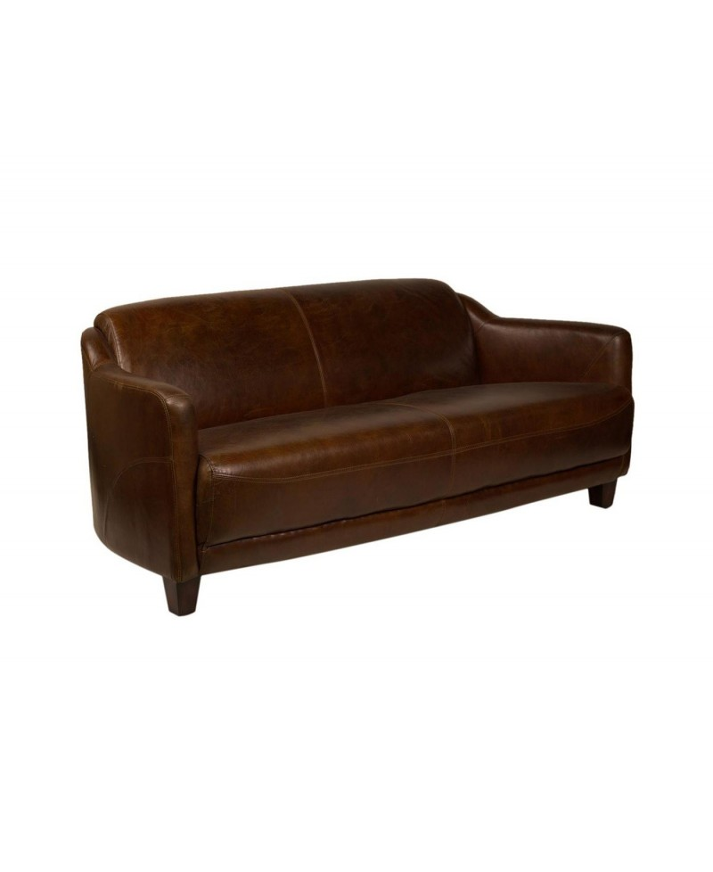 Lincoln, un grand canapé club, cuir marron | MonAchatDeco.com