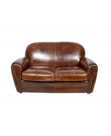 Canapé club SHEFFIELD cuir marron vintage