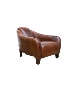 Fauteuil club HERMIONE cuir marron vintage