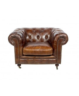 Fauteuil chesterfield FLEMING cuir marron vintage