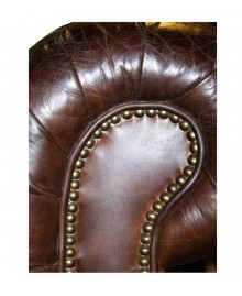 Canapé chesterfield FLEMING cuir marron vintage