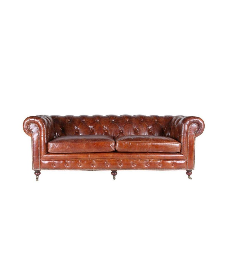 Canapé chesterfield FLEMING XL cuir marron vintage