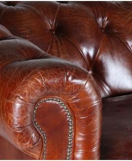 Canapé chesterfield FLEMING XL cuir marron vintage