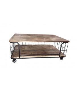 Table basse BRONX bois et métal