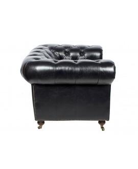 Fauteuil chesterfield FLEMING cuir noir
