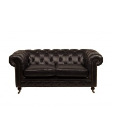 Canapé chesterfield FLEMING cuir noir