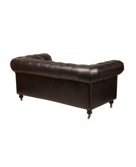 Canapé chesterfield FLEMING cuir noir