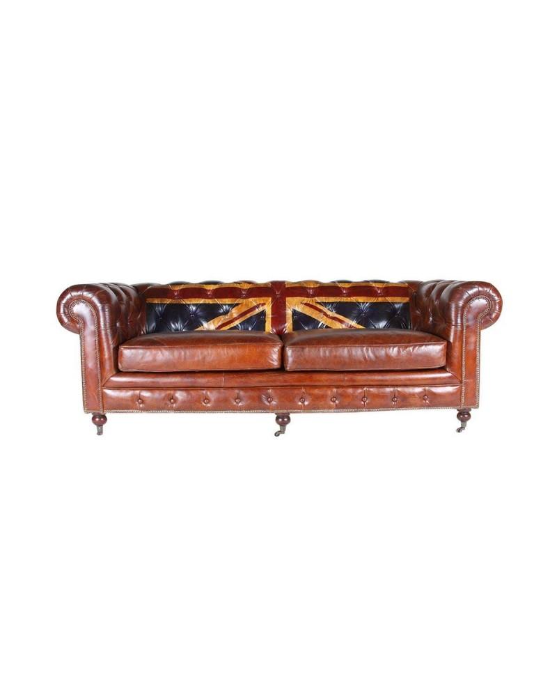 Canapé chesterfield JACK cuir marron vintage