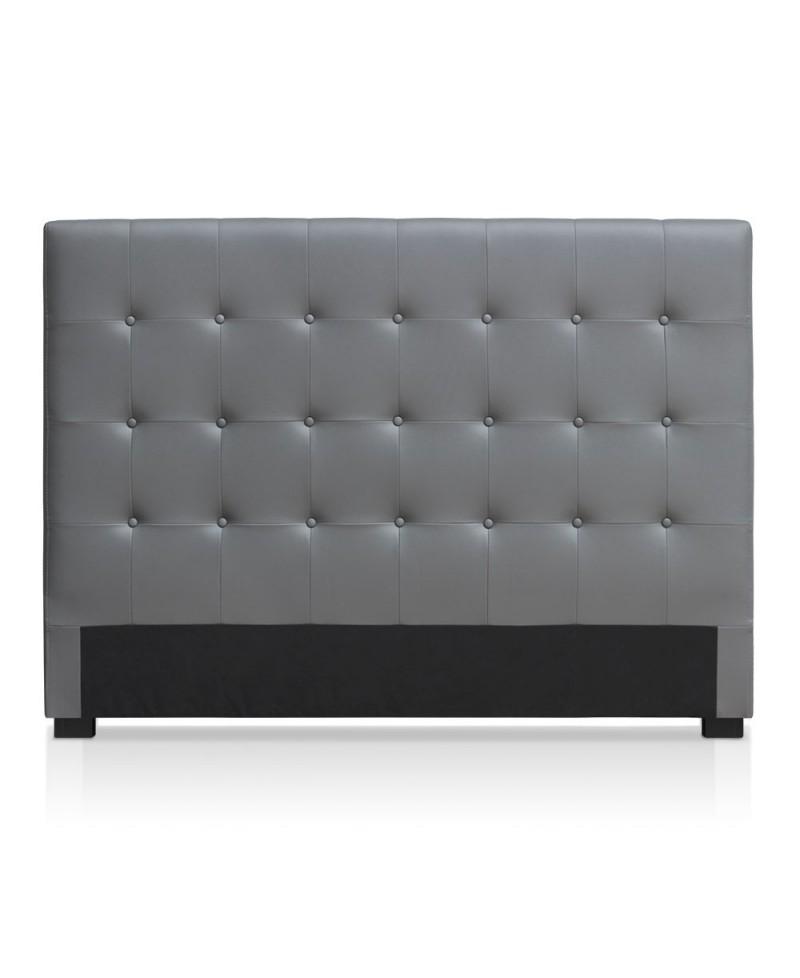capri t te de lit simili cuir gris 160 cm. Black Bedroom Furniture Sets. Home Design Ideas