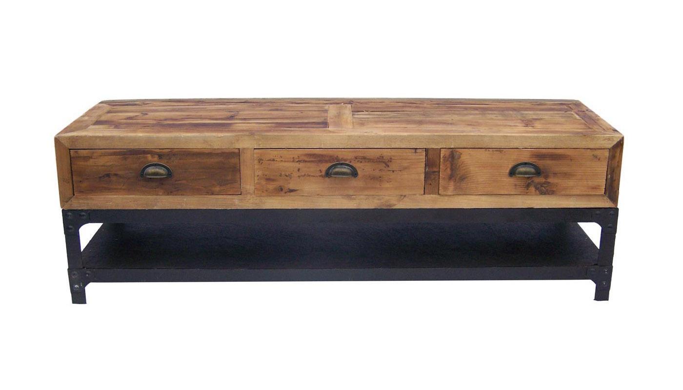 antigua, meuble tv, industriel, bois, métal, noir | monachatdeco