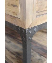 Console industrielle ANTIGUA bois et métal