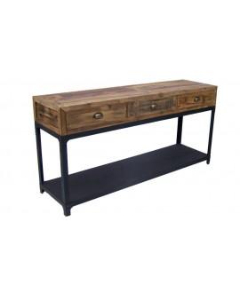 Console industrielle 3 tiroirs ANTIGUA bois et métal noir