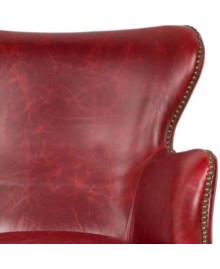 Fauteuil NESTOR cuir rouge finition cloutée