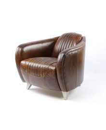 Fauteuil club aviateur DAYTONA cuir marron