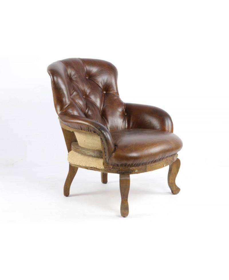 Fauteuil CHURCHILL cuir capitonné marron