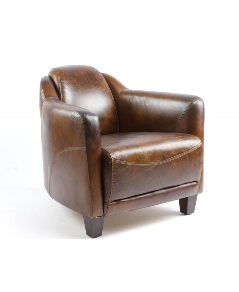 Fauteuil club cigare LINCOLN marron vintage