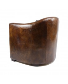 Fauteuil club WINDSOR cuir marron vintage