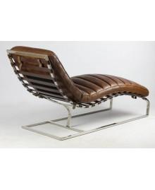 Chaise Longue CESAR cuir marron