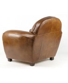 Fauteuil club BOURBON cuir marron vintage