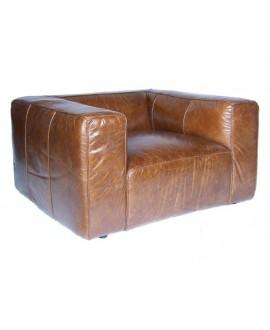 Fauteuil cube NEVADA cuir marron vintage