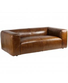 Canapé cube NEVADA cuir marron vintage