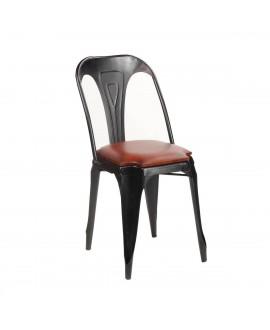 Chaise industrielle HEKTOR métal et cuir