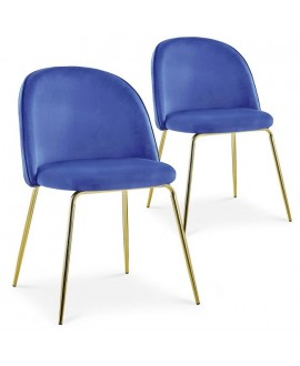 Lot de 2 chaises Scandinave COLIBRI velours bleu