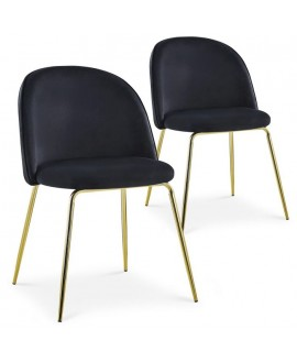 Lot de 2 chaises Scandinave COLIBRI velours noir