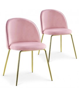 Lot de 2 chaises Scandinave COLIBRI velours rose