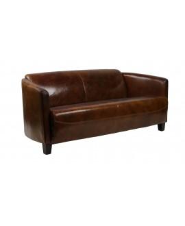 Canapé club 3 places GLASGOW cuir marron vintage