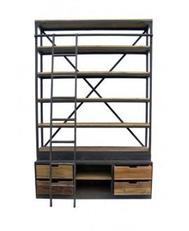 Bibliothèque industrielle CAYO XL bois et métal